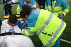 Lesión de un jugador del Mostoles CF , El SUMMA 112 y la Polícia Local de Móstoles