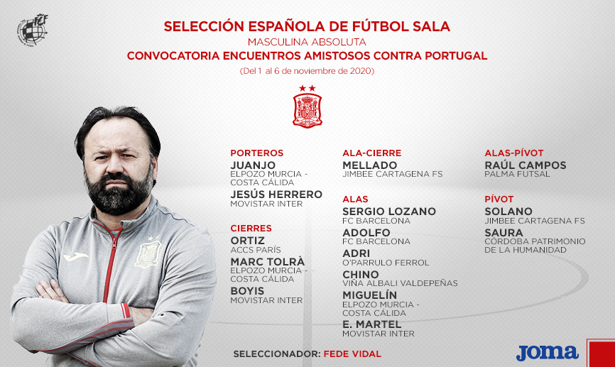 El combinado nacional se concentrará en la Ciudad del Fútbol de Las Rozas a partir del domingo. Los partidos se jugarán miércoles y jueves de noviembre en el pabellón de la Real Federación Española de Fútbol